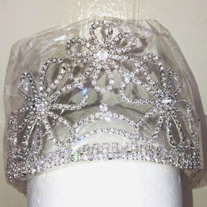 Flower Tiara rhinestones silver combs half circle